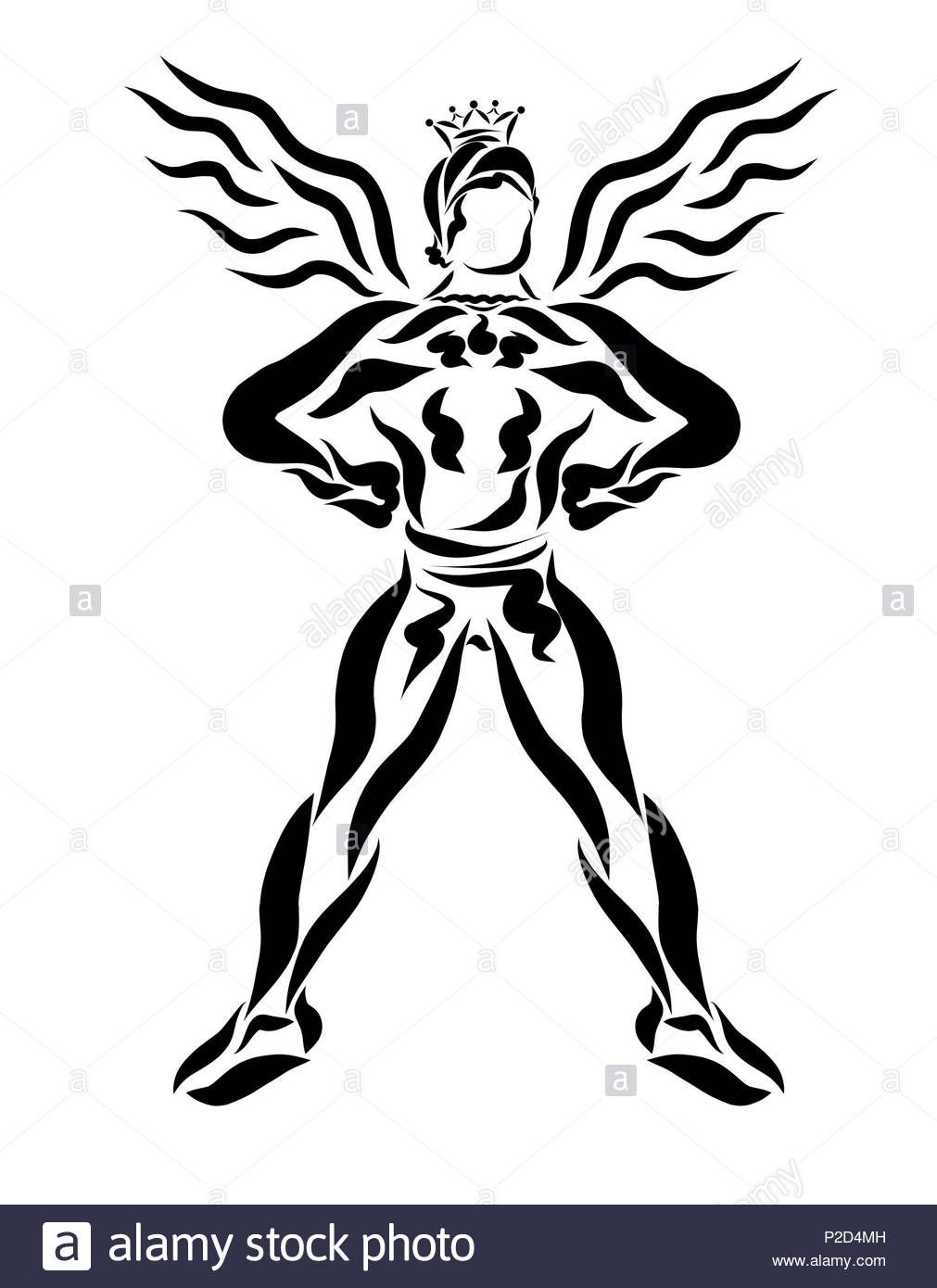 Muscular winged prince, mystical superhero - Stock Image
