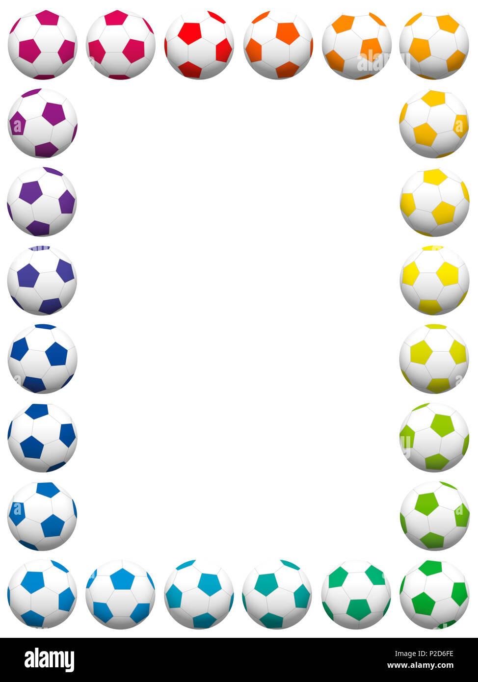 Colorful soccer balls, vertical frame - illustration on white ...