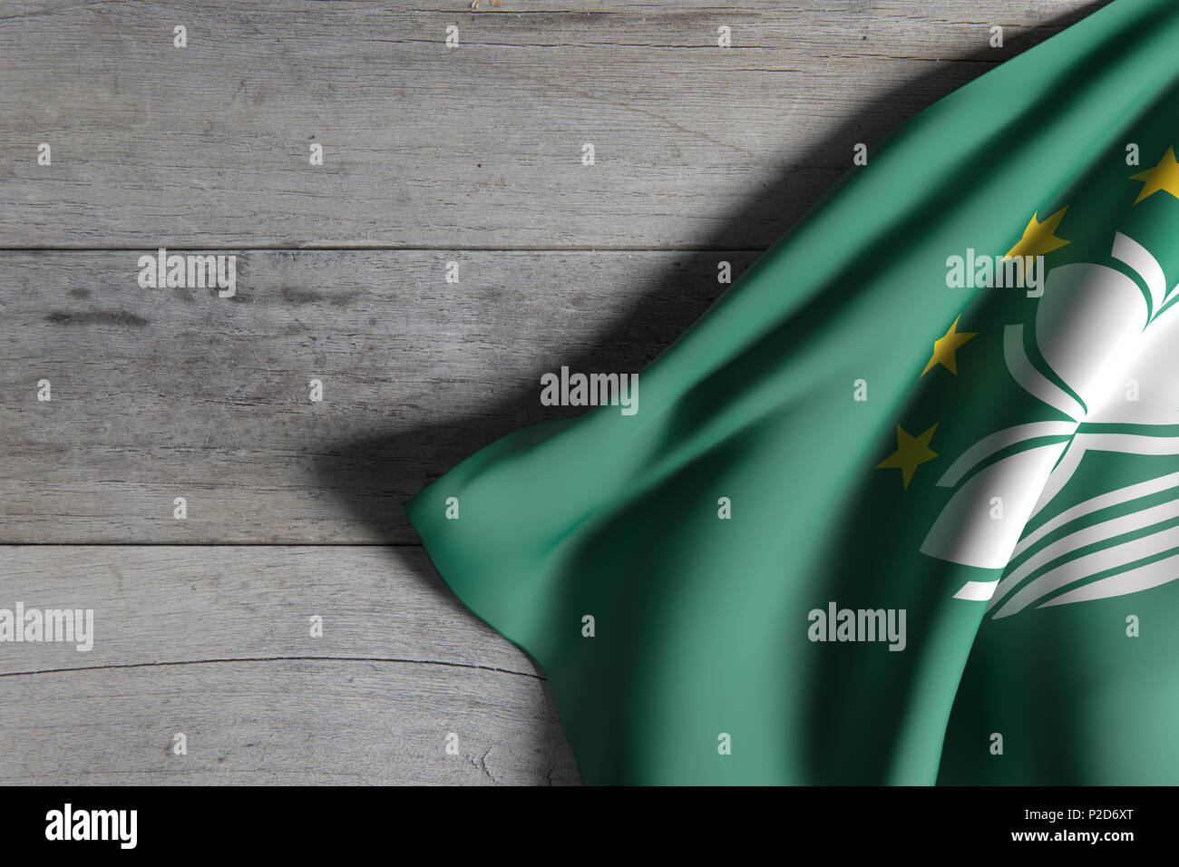 3d rendering of Macau flag over a wooden surface - Stock Image