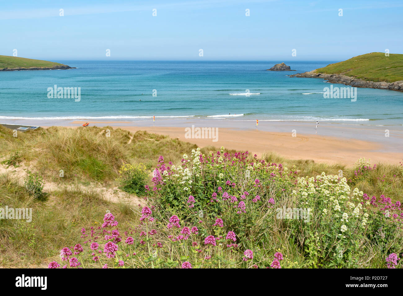 summer at crantock beach near newquay in cornwall, england, britain, uk, - Stock Image
