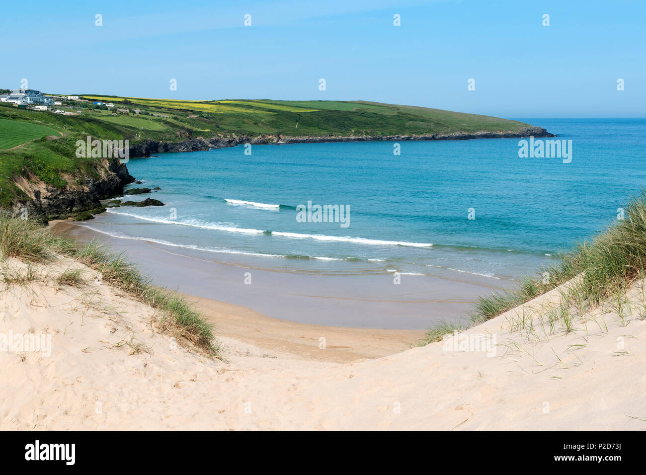 summer at crantock beach near newquay in cornwall, england, britain, uk - Stock Image