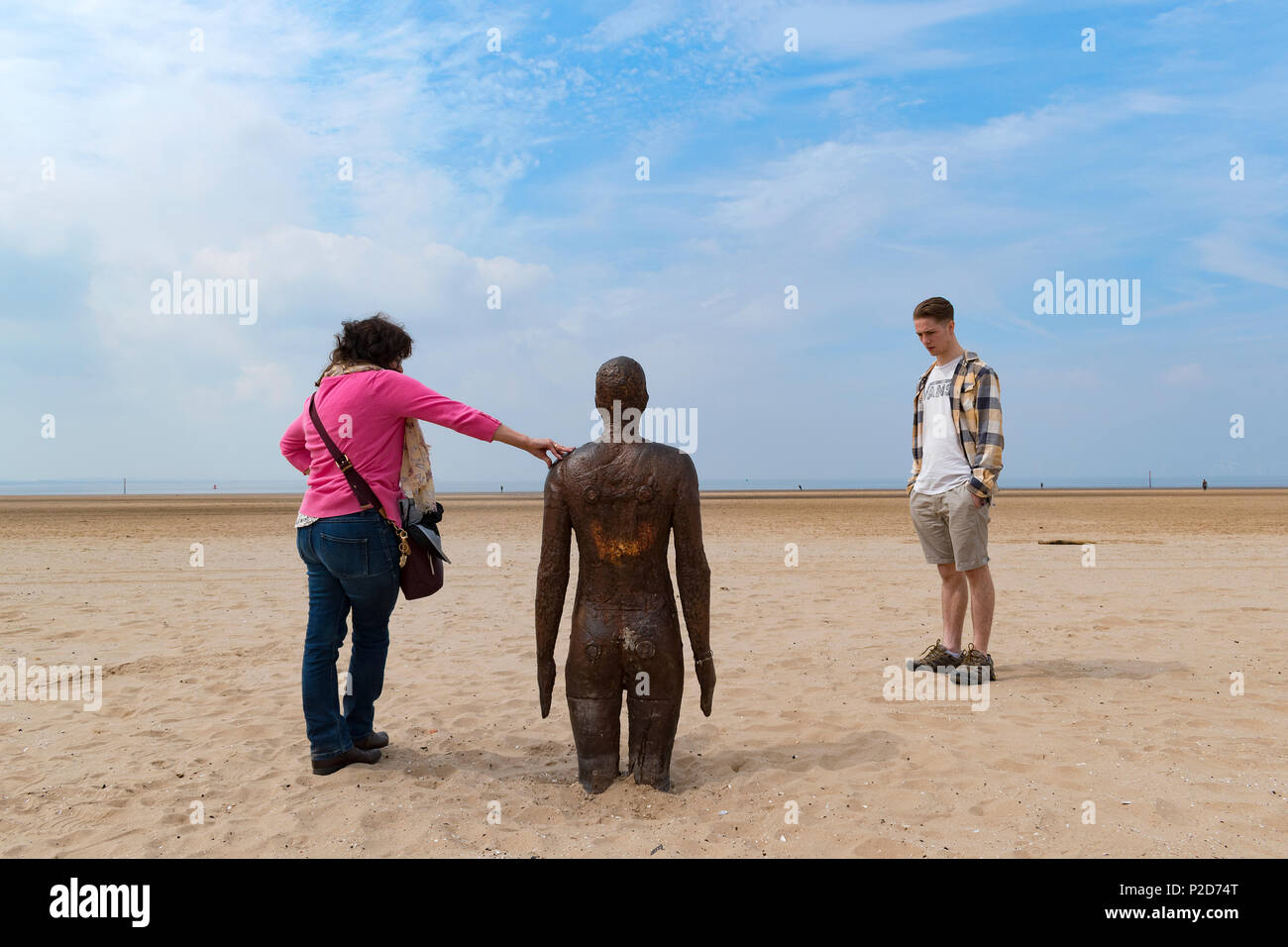 another place, art installation by anthony gormley on crosby beach near liverpool in england, britain, uk. - Stock Image