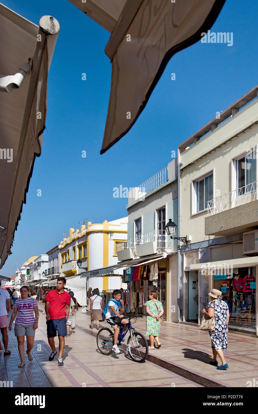 Main street, Vila Real de Santo Antonio, Algarve, Portugal - Stock Image