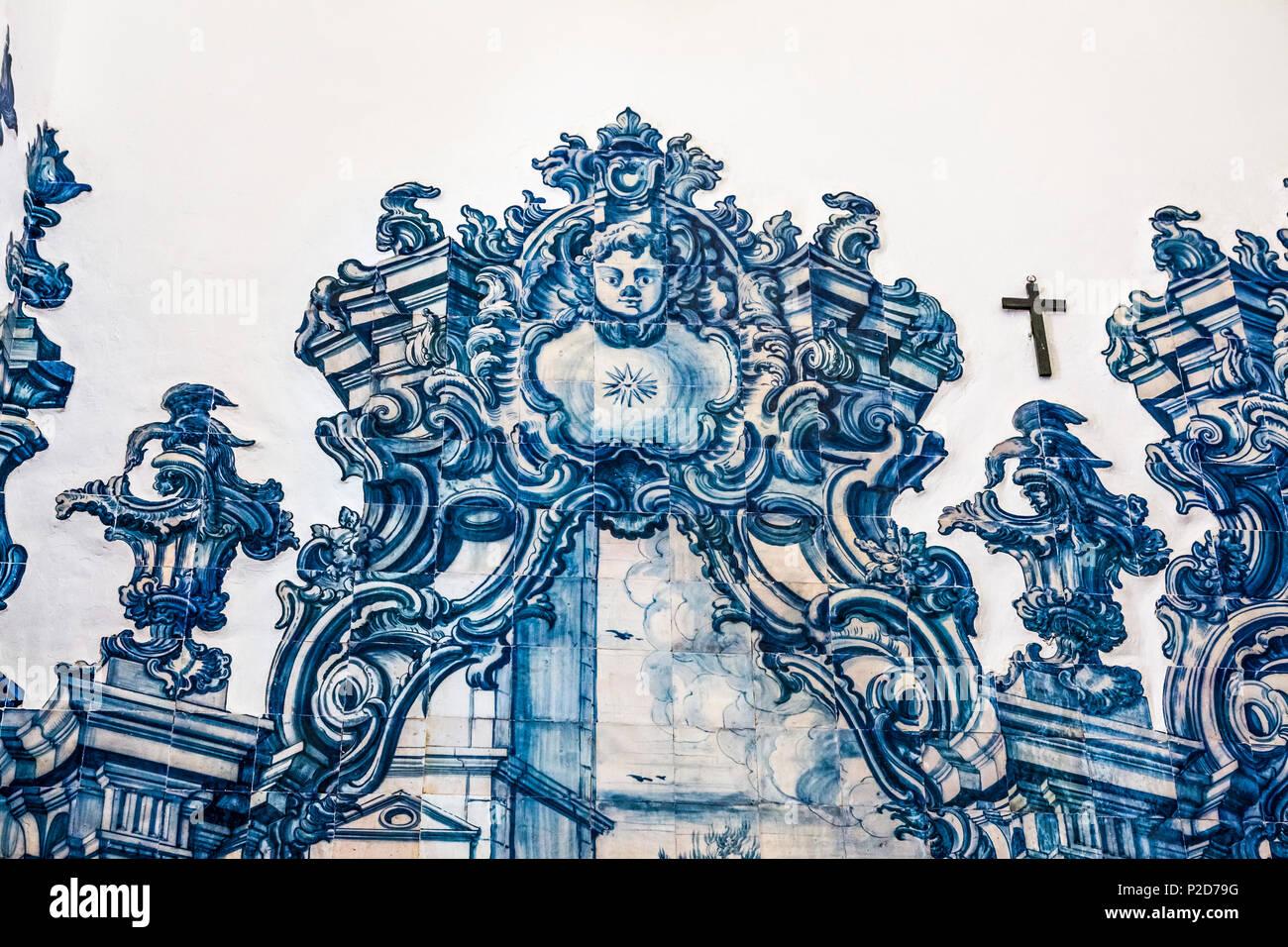 Tiles Azulejos in the church Igreja da Misericordia, Tavira, Algarve, Portugal - Stock Image
