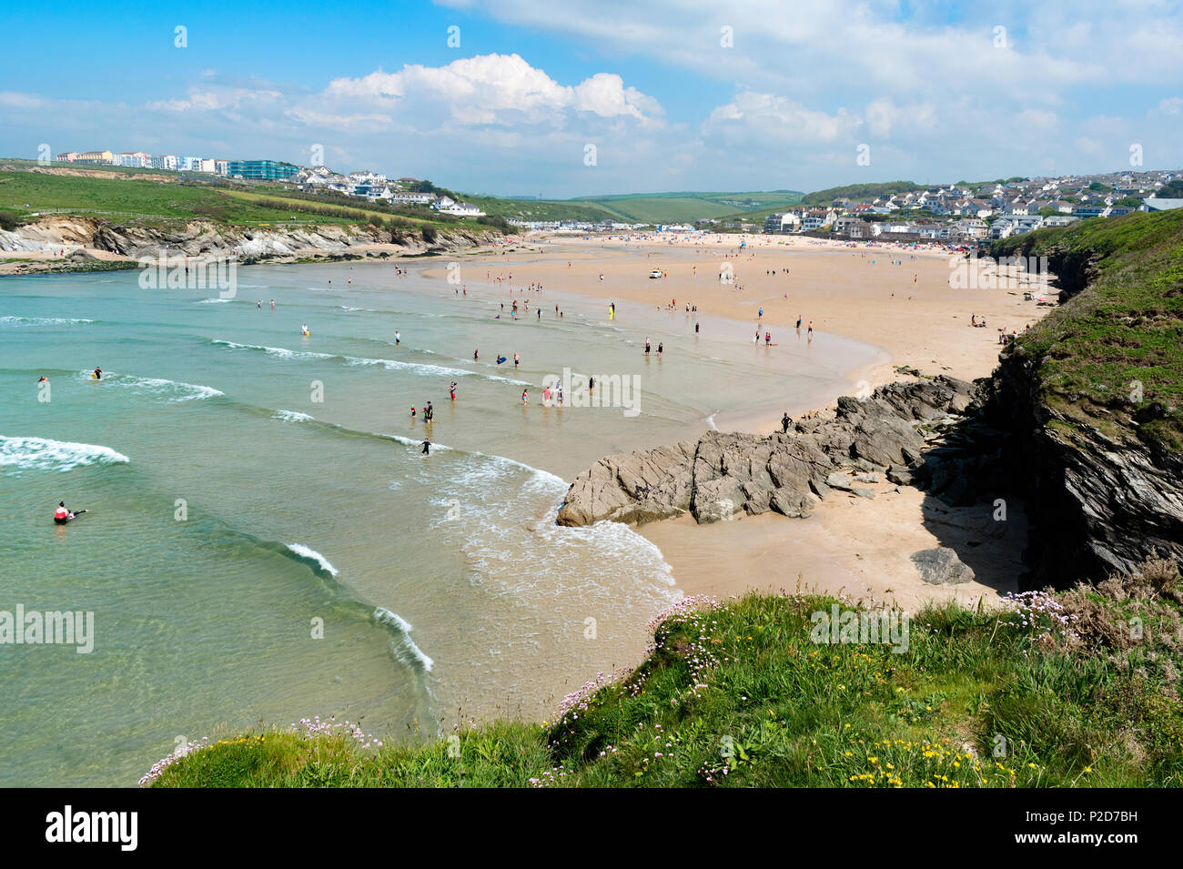 early summer at porth beach, newquay, cornwall, england, britain, uk, - Stock Image
