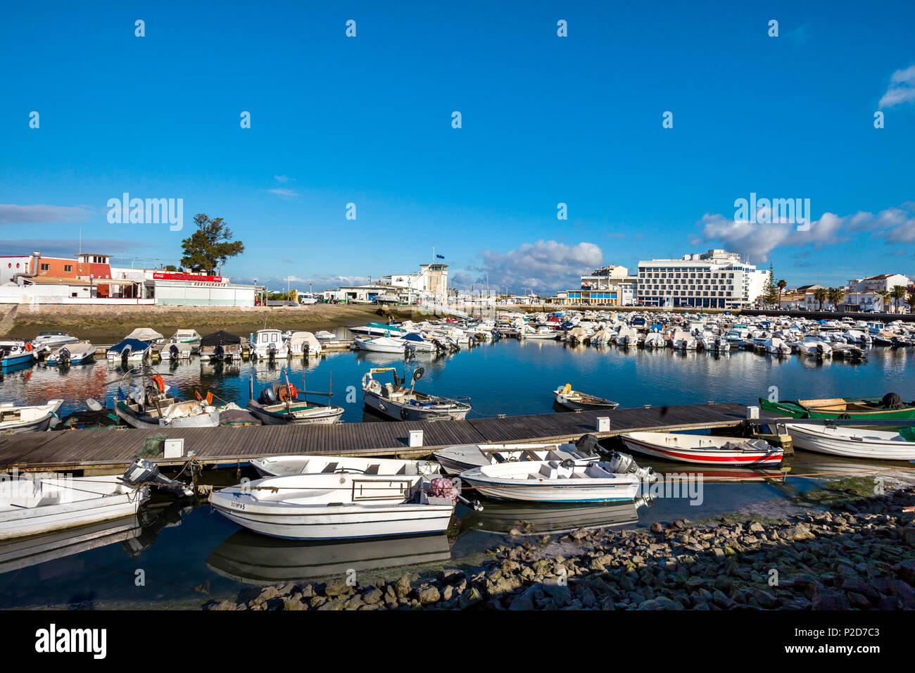 Boats in the Harbour, Faro, Algarve, Portugal - Stock Image