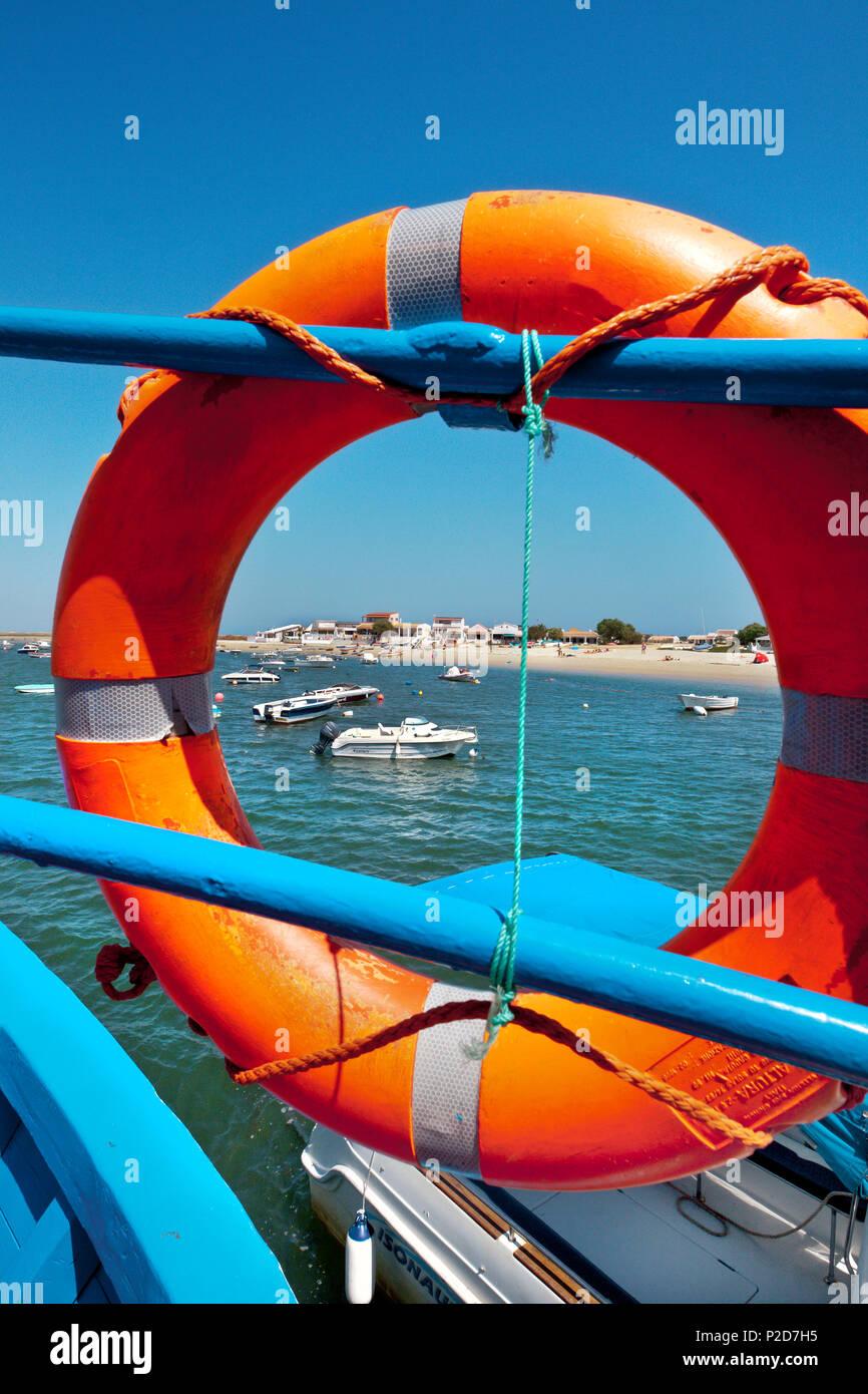Ferry boat to Armona island, Olhao, Algarve, Portugal - Stock Image