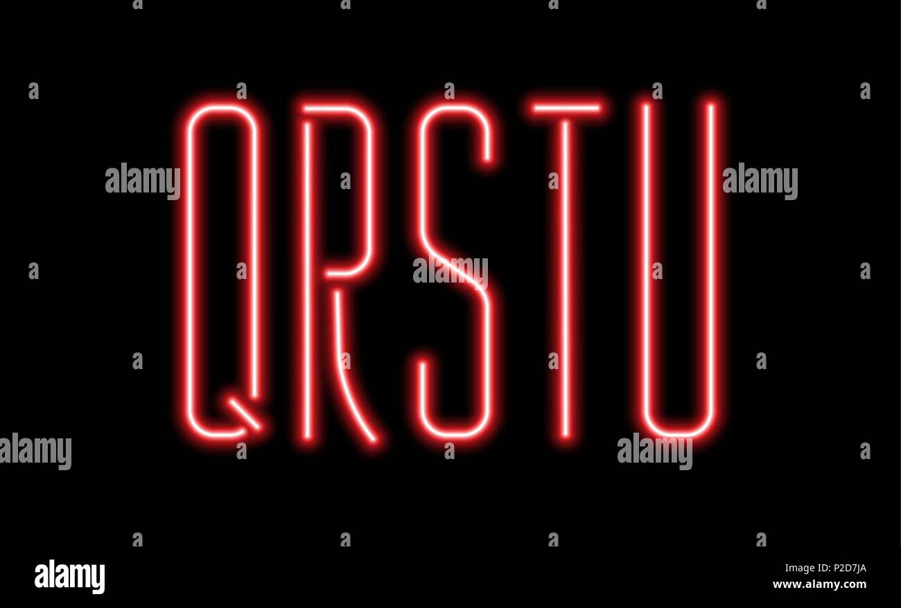 Bright red neon letters on a black background. Letters Q, R, S, T, U for night club or night show design. - Stock Vector