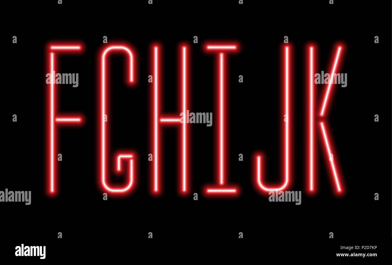 adf8c7c399 Bright red neon letters on a black background. Letters F, G, H,