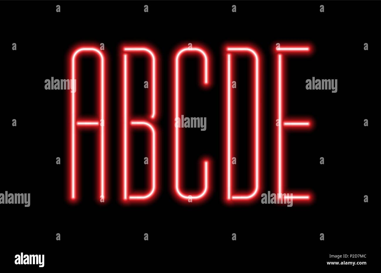 a7bedb7ffc Bright red neon letters on a black background. Letters A, B, C,