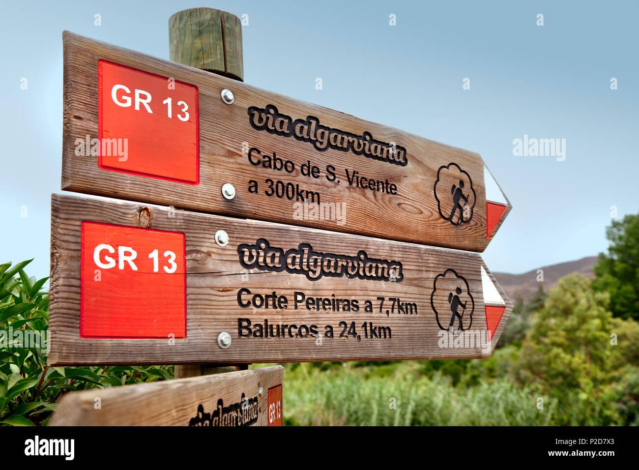 Signpost, hiking trail Via Algarvina, Algarve, Portugal - Stock Image