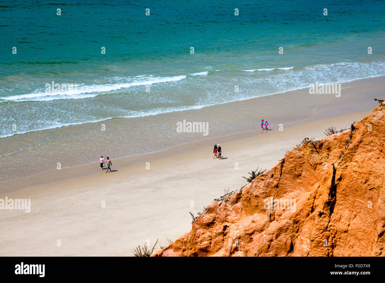 Red cliffs, Praia de Falesia, Albufeira, Algarve, Portugal - Stock Image