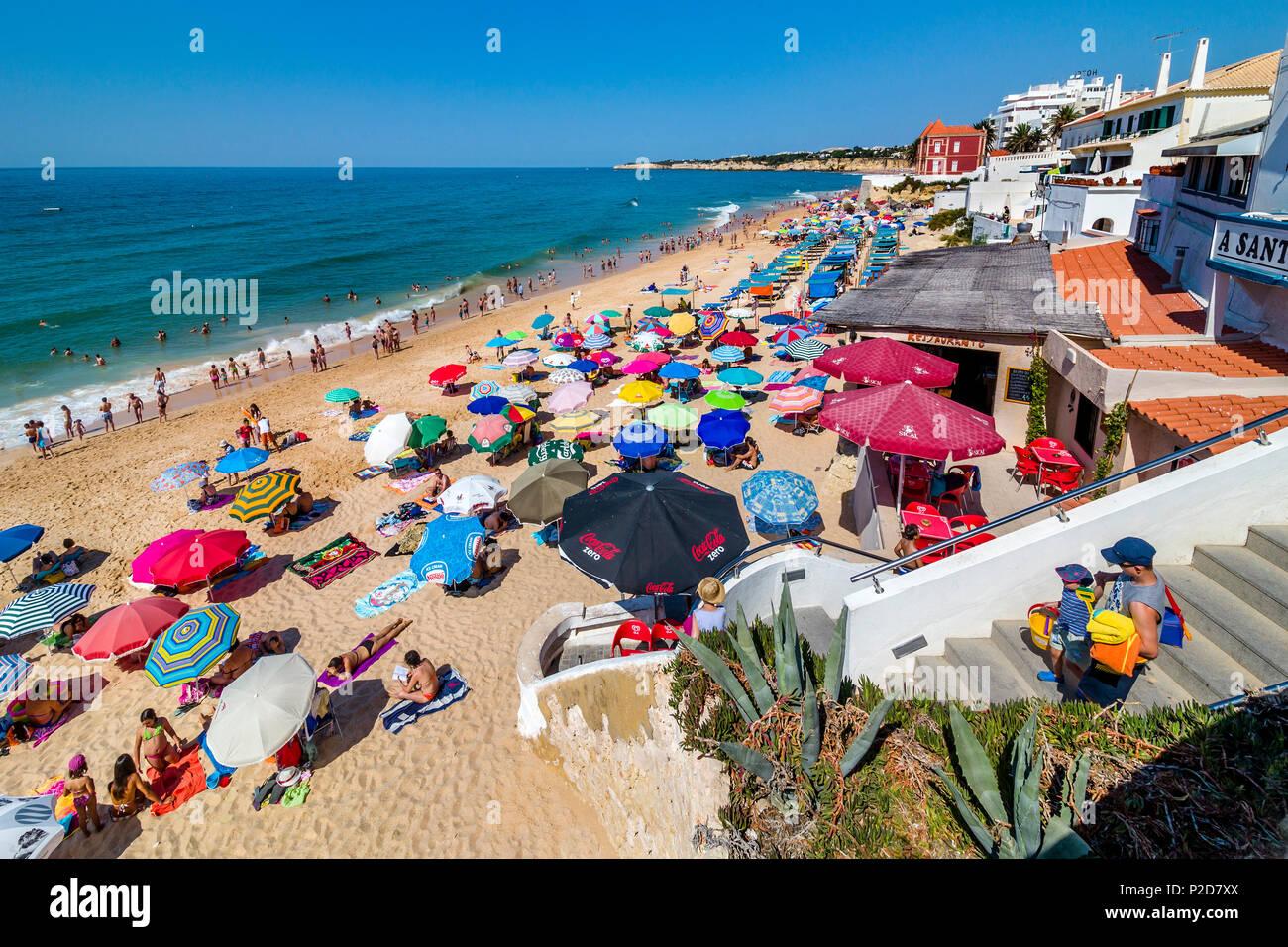 Beach life, beach at Armacao de Pera, Algarve, Portugal - Stock Image