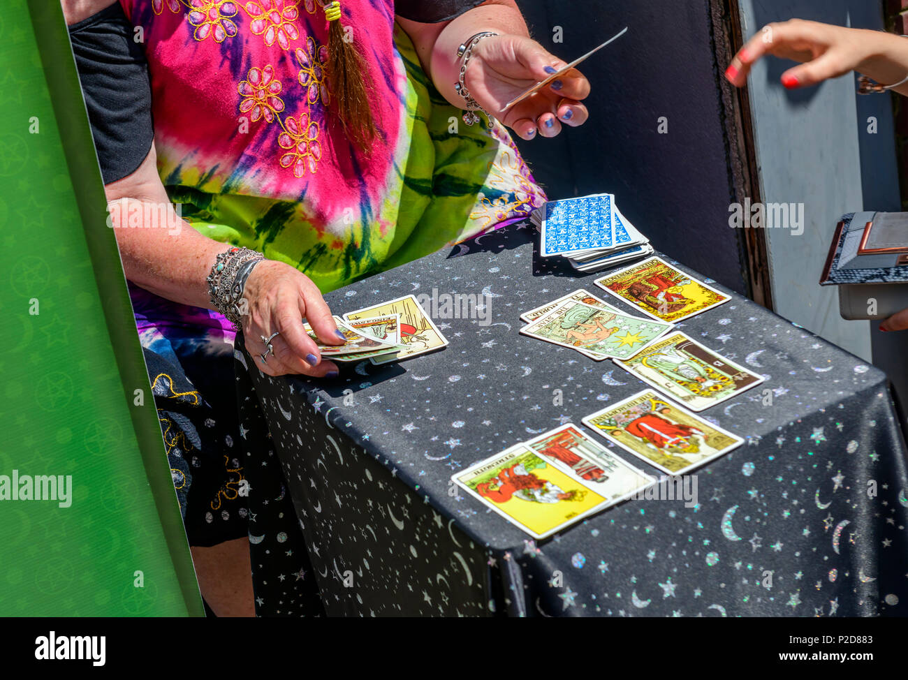 close up of a tarot card reading - Stock Image