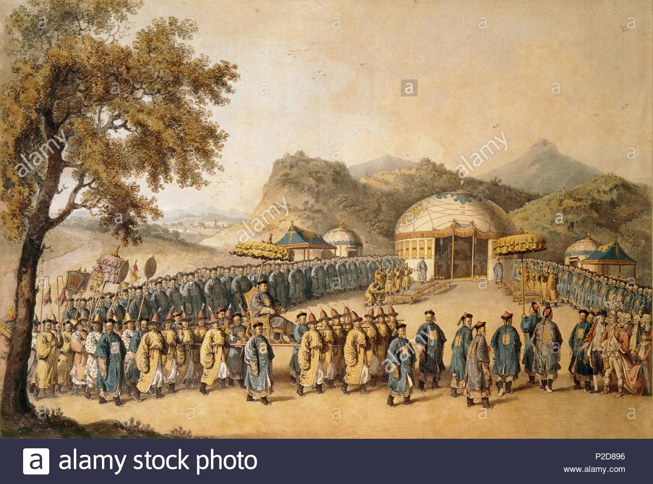 The approach of the Emperor of China (Tchien Lung, 1711-1799) to his tent in Tartary to receive the British ambassador George, 1st Earl Macartney (1737-1806), 1793.      William Alexander (1767-1816) accompanied Lord Macartney's embassy to visit the Chinese Emperor in Beijing from 1792 to 1794. From numerous sketches he made during his stay, he painted this watercolour scene and many others when he returned to England and had engravings made and published of some of his views. Author: ALEXANDER, WILLIAM. Location: British Museum, London, Great Britain. - Stock Image