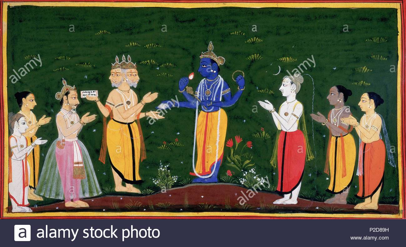 The Gods, led by Brahma, approach Vishnu to manifest on earth as Dasaratha's four sons in order to vanquish the evil demon Ravana. From Ramayana, Bala Kanda. India, Udaipur, 1712.   Shelfmark: Add. 15295   Page Folio Number: f.38. Location: The British Library, London, Great Britain. - Stock Image