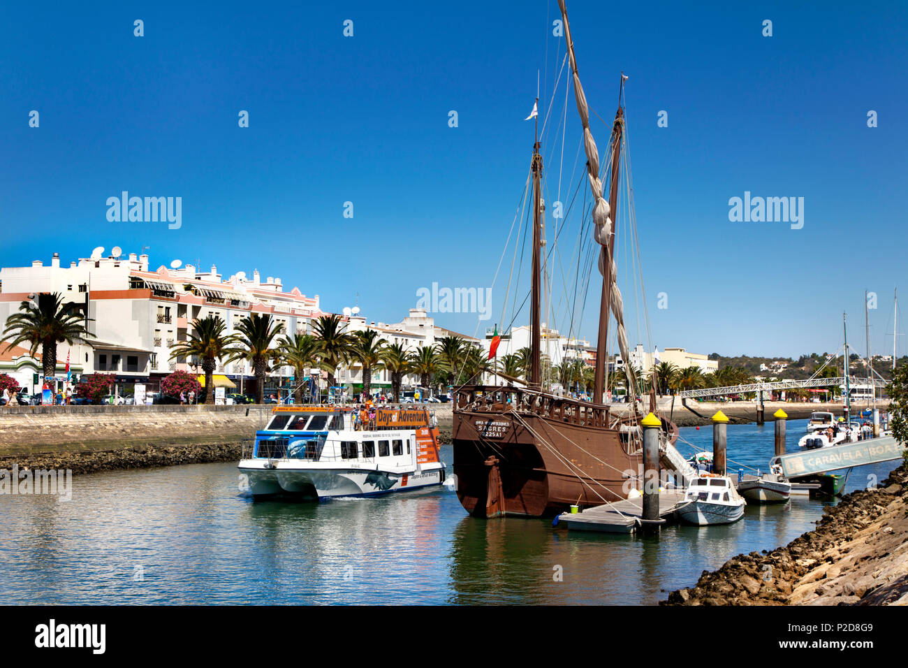 Excursion boat for dolphin watching, Lagos, Algarve, Portugal - Stock Image