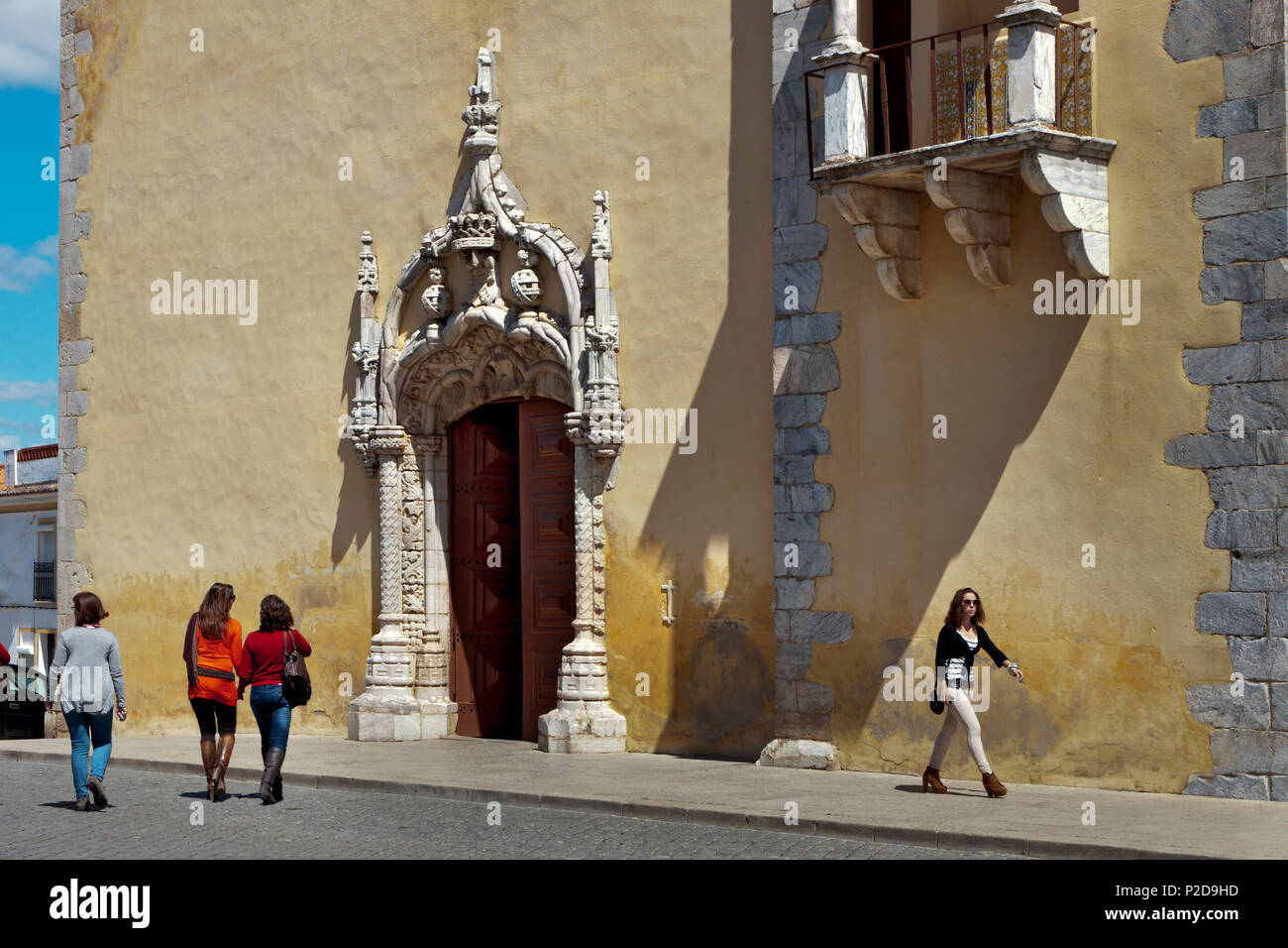 Entrance of a church, Moura, Alentejo, Portugal - Stock Image