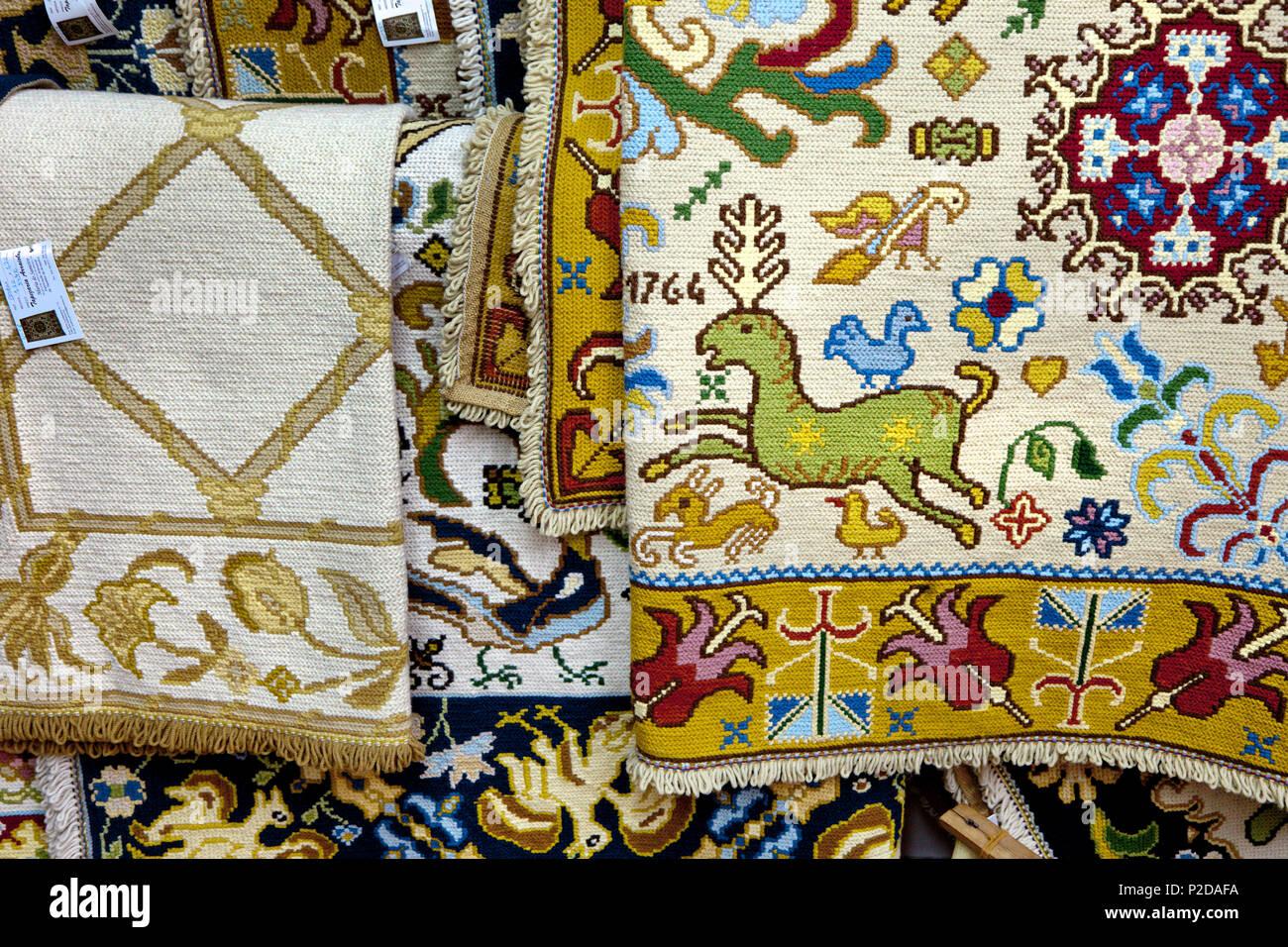 Traditional handmade carpets, Arraiolos, Alentejo, Portugal - Stock Image