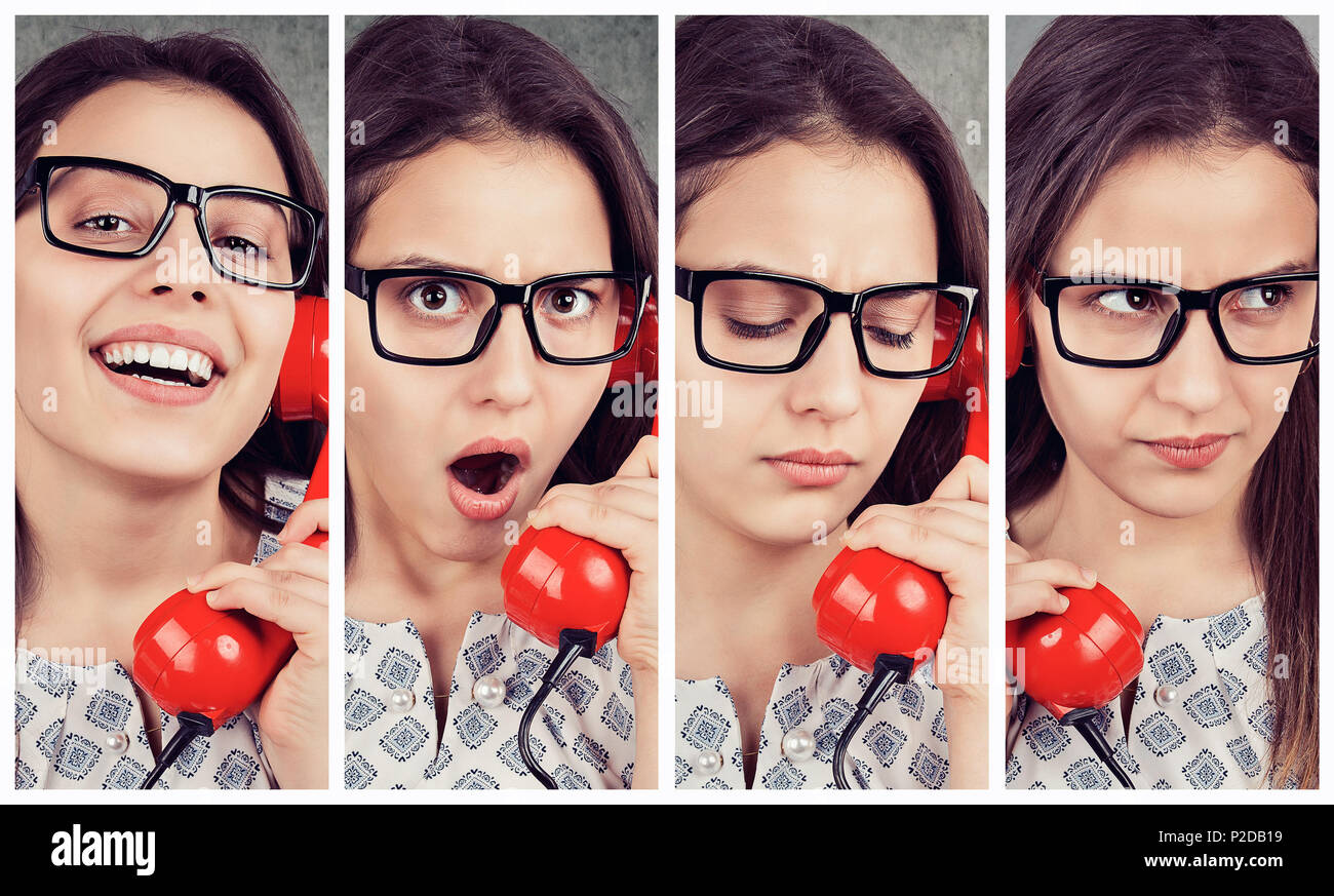 Composed photos of expressive woman reacting on bad news while speaking on old fashioned telephone. - Stock Image