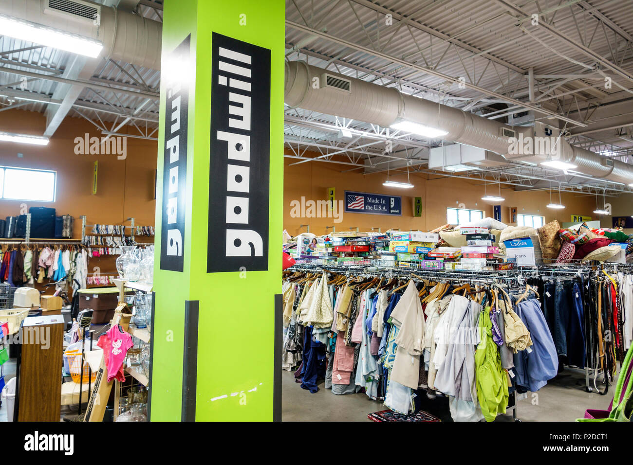 Florida Daytona Beach Goodwill Store retail thrift store nonprofit charity shop donations interior second-hand clothing display sale interior - Stock Image