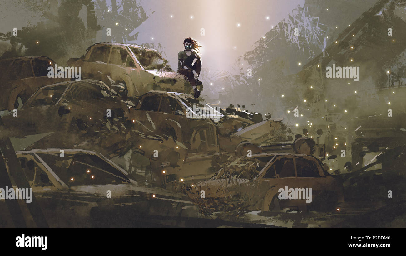 post-apocalyptic scene showing the woman with a mask sitting on pile of wrecked cars, digital art style, illustration painting - Stock Image