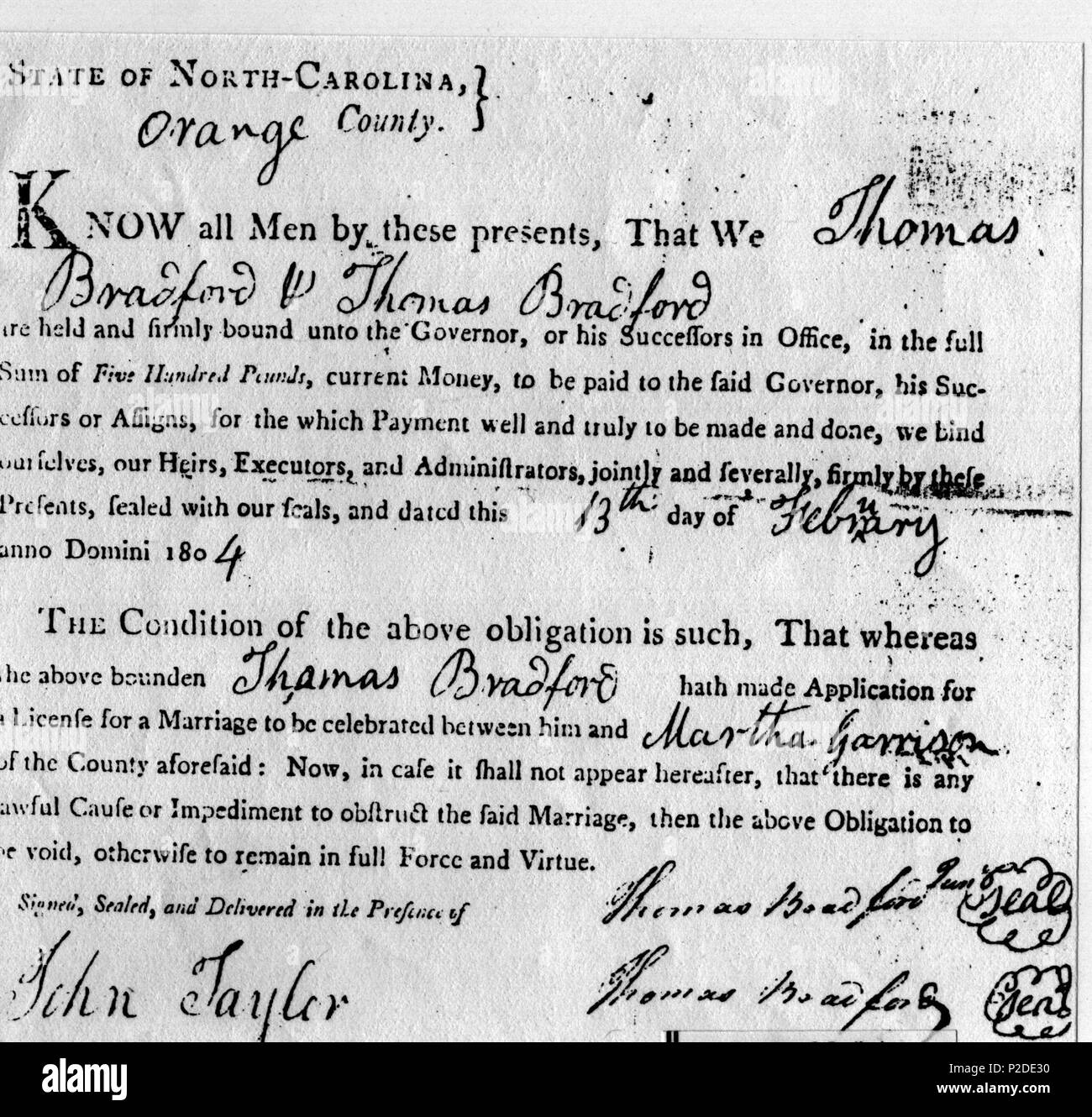 English Marriage Certificate For The Marriage Of Thomas Bradford To