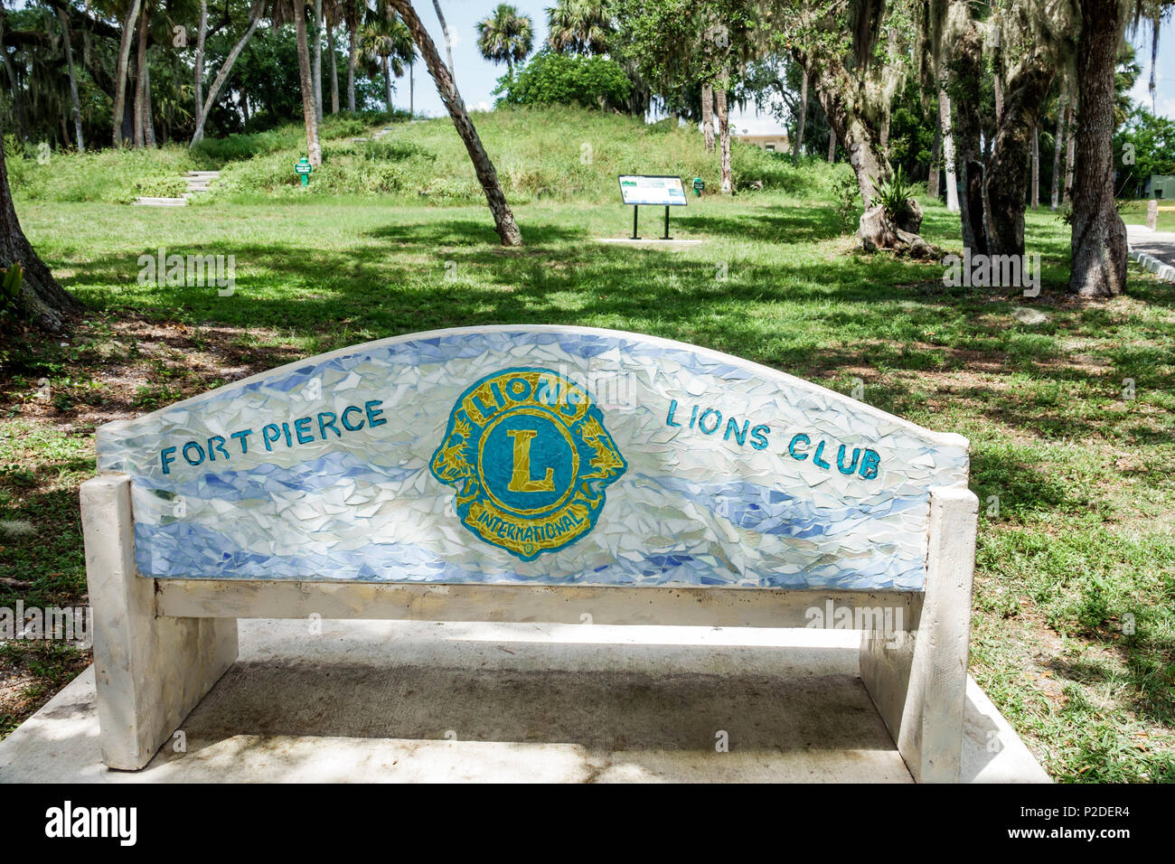 Florida Fort Ft. Pierce Old Fort Park archeological site urban park Ais Indian culture Native American heritage bench sponsor organization Lions Club - Stock Image