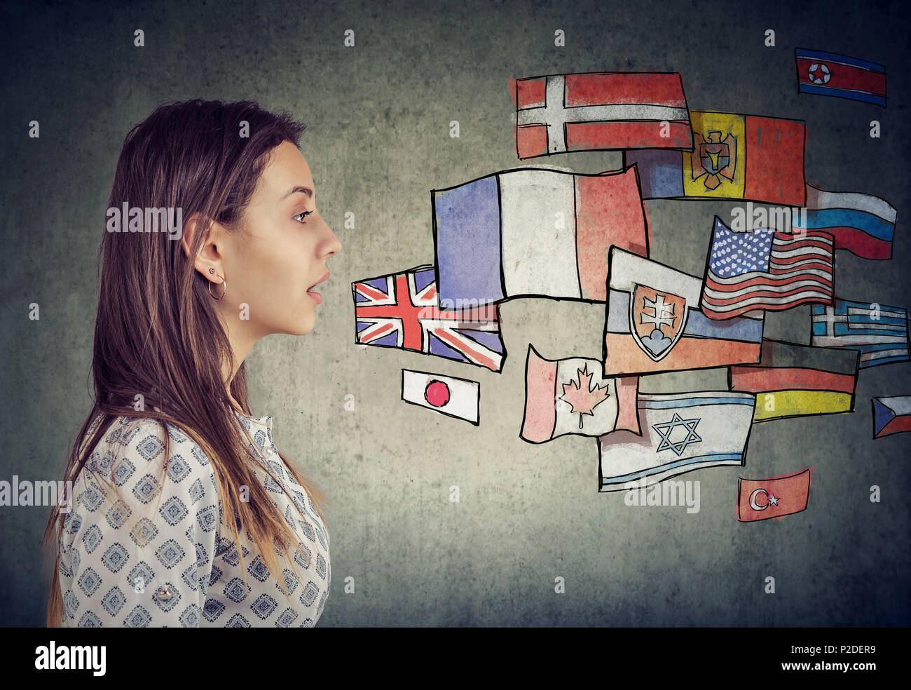 Young student woman learning different languages - Stock Image