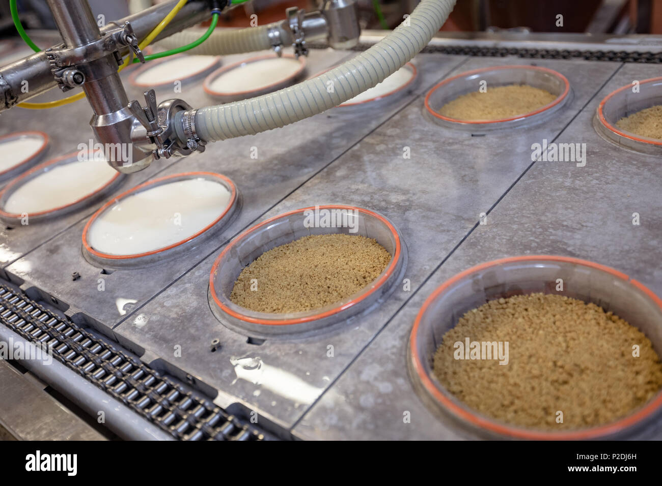 Close-up of food in the production line - Stock Image
