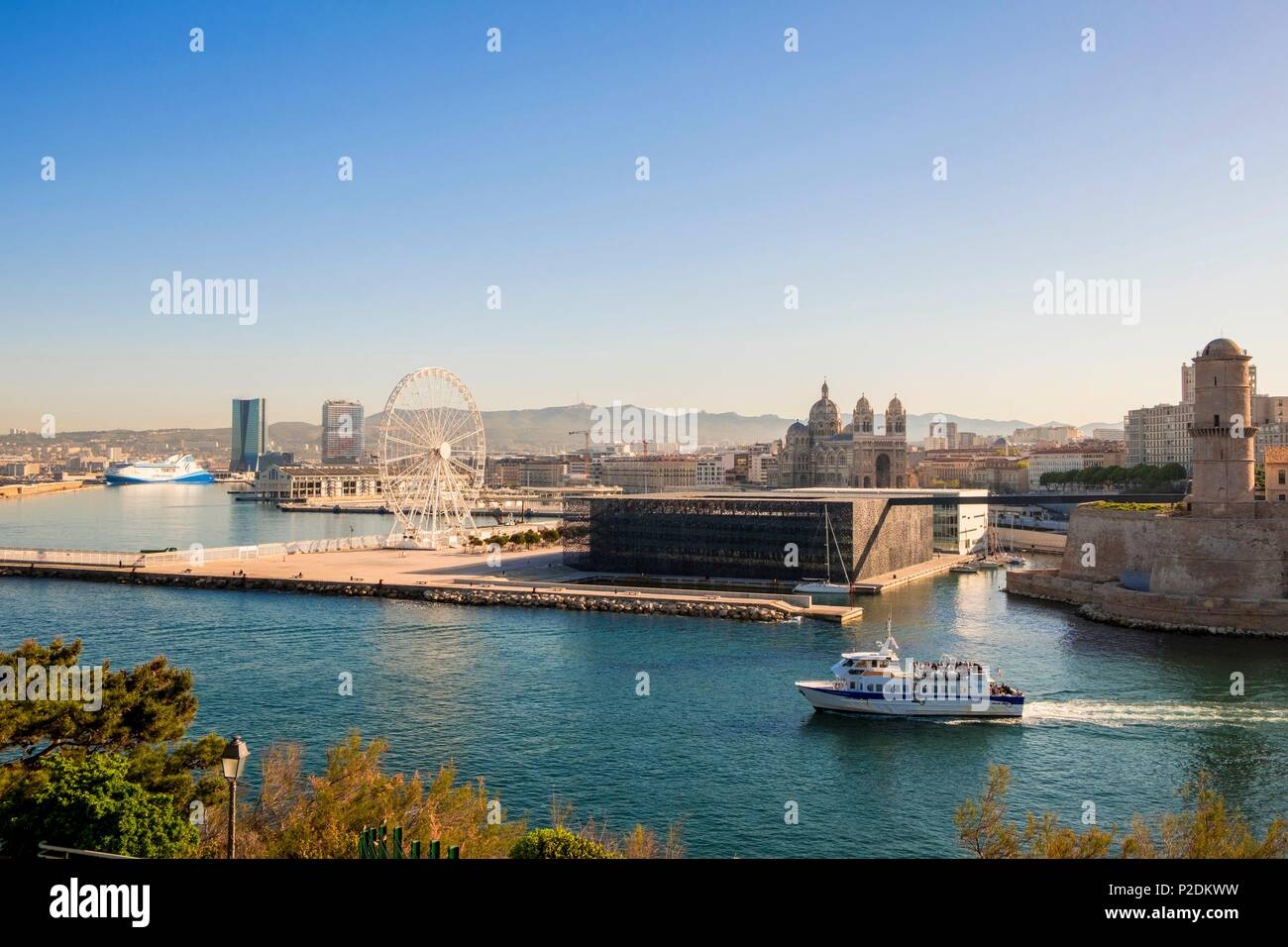 France, Bouches du Rhone, Marseille, J4 pier, Fort Saint Jean, MuCEM (Museum of European and Mediterranean Civilizations) by architect Rudy Ricciotti and the Cathedral of La Major , Hadid's CMA CGM Tower and Jean Nouvel's La Marseillaise Tower Stock Photo