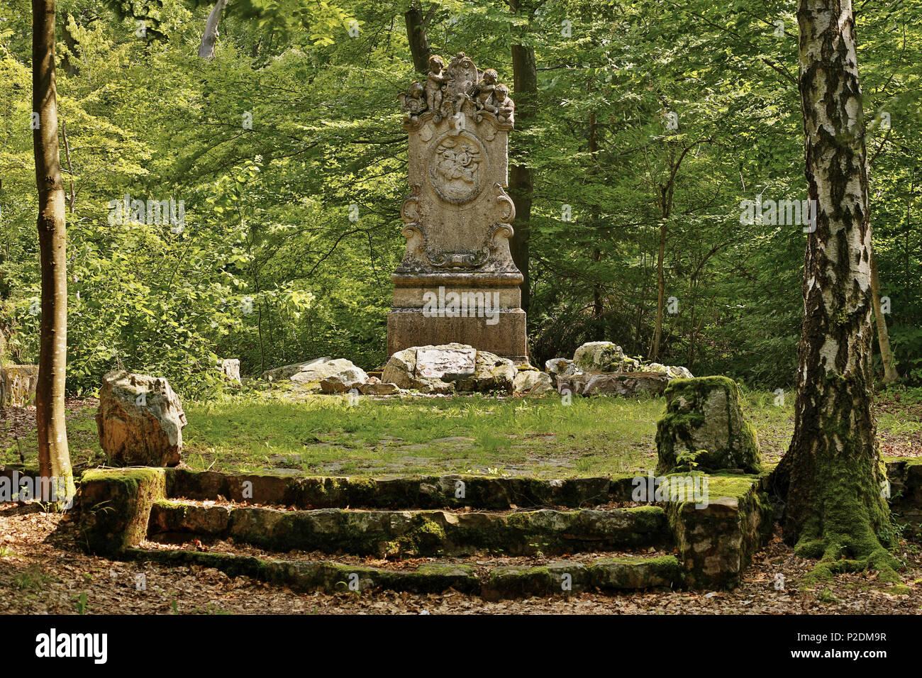 Memorial for hunters aus Kurpfalz in Entenpfuhl, Soonwald, Administrative district of Bad Kreuznach, Region of Nahe-Hunsrueck, R - Stock Image