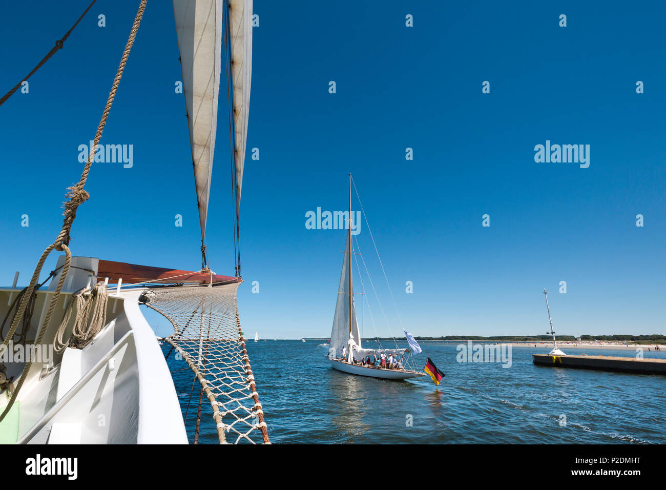 View from sailing boat, Hanseatic City, Luebeck Travemuende, Baltic Coast, Schleswig-Holstein, Germany - Stock Image