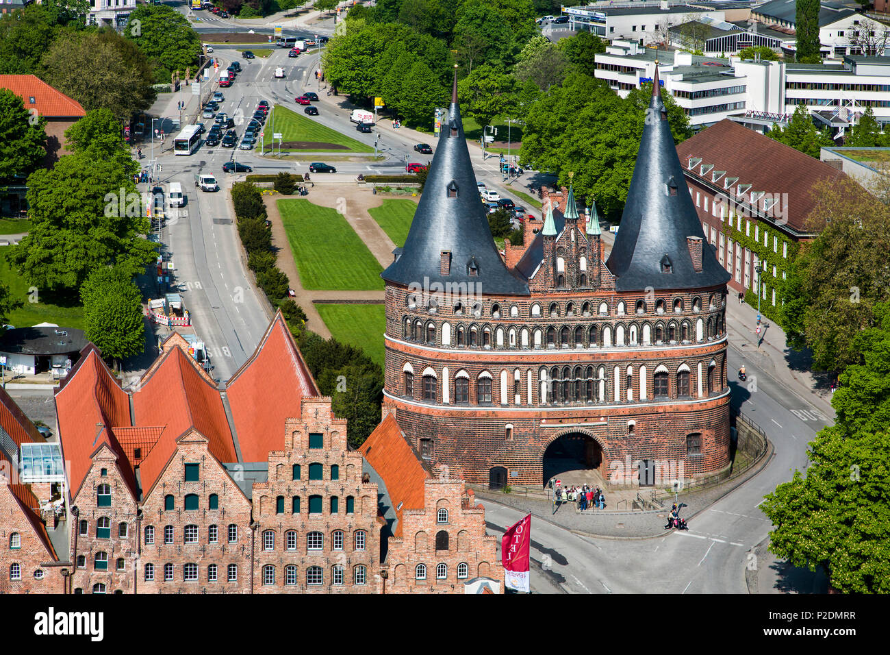 View towards the city gate Holstentor, Hanseatic City, Luebeck, Schleswig-Holstein, Germany - Stock Image