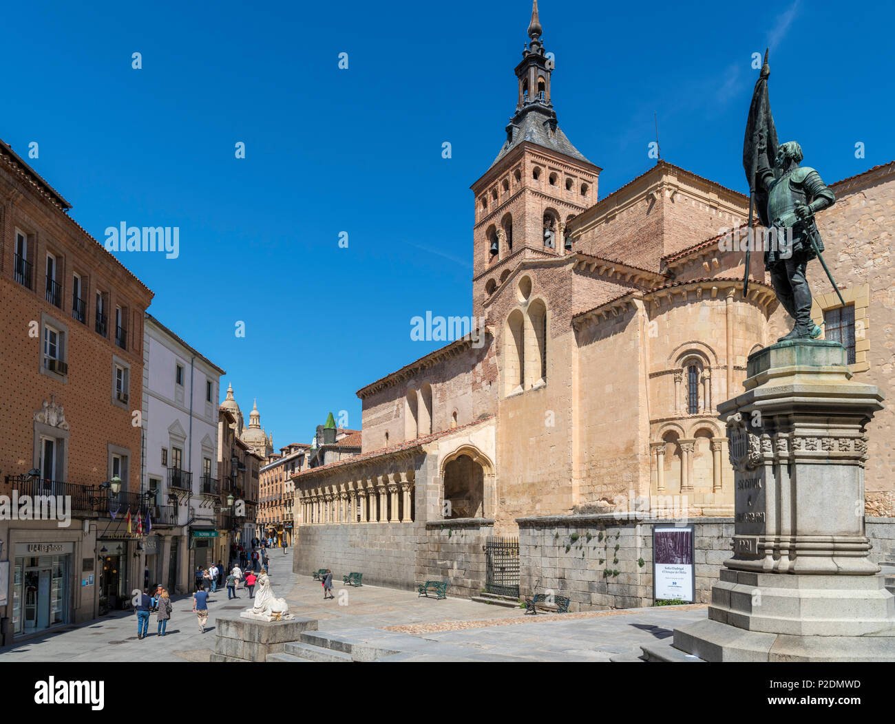 Segovia, Pain. Plaza de San Martin, church of San Martin and statue of Juan Bravo, Segovia, Castilla y Leon, Spain - Stock Image