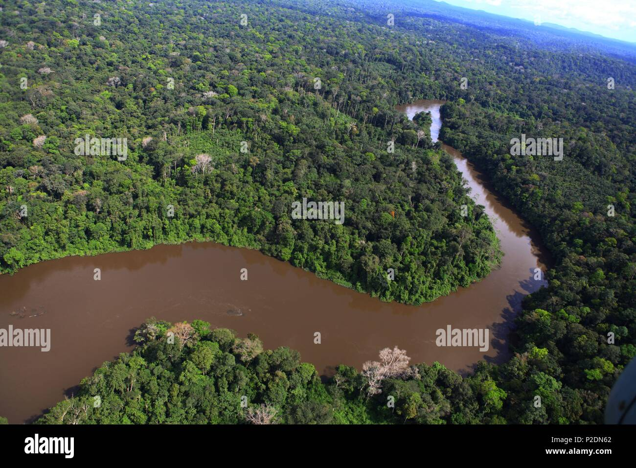 France, French Guiana (overseas department), Camopi, A meander of Oyapock, east of Guyana - Stock Image
