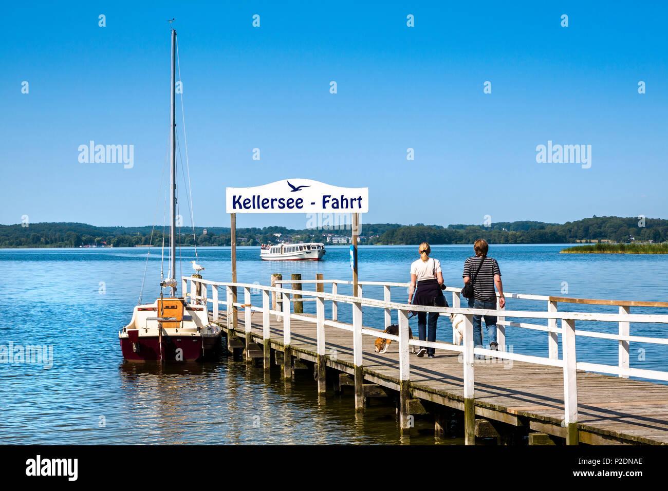 Pier at lake Keller, Holstein Switzerland, Ostholstein, Schleswig-Holstein, Germany - Stock Image