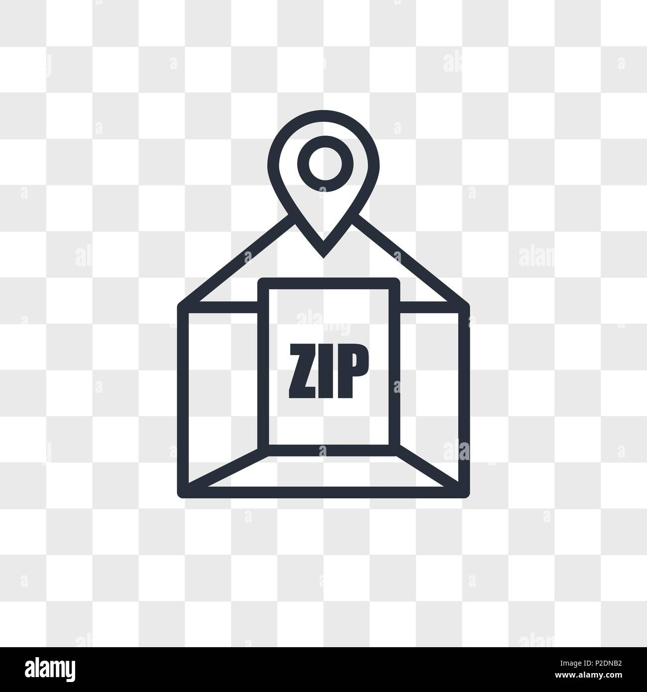 zip code vector icon isolated on transparent background, zip