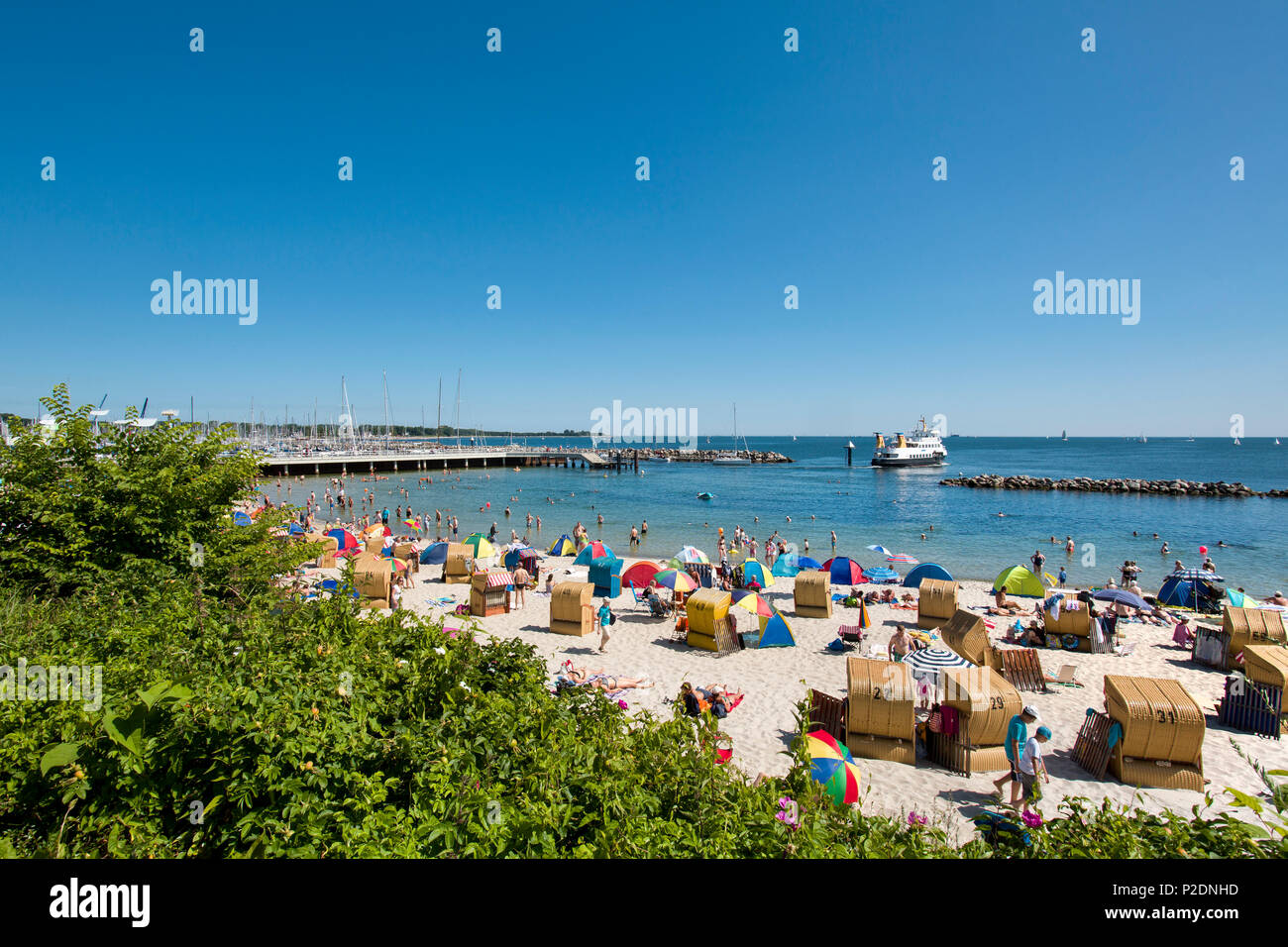 Beach, Kiel-Schilksee, Baltic Coast, Schleswig-Holstein, Germany - Stock Image