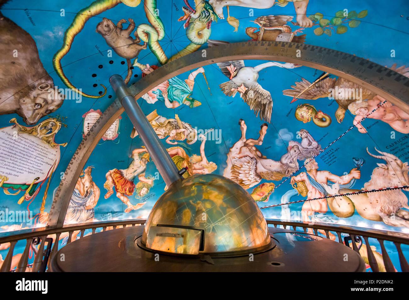 Gottorf globe, Gottorf castle, Schlei, Schleswig, Baltic Coast, Schleswig-Holstein, Germany - Stock Image