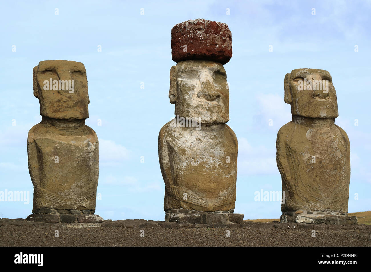 Three of fifteen huge Moai statues of Ahu Tongariki on Easter Island, Chile, South America - Stock Image