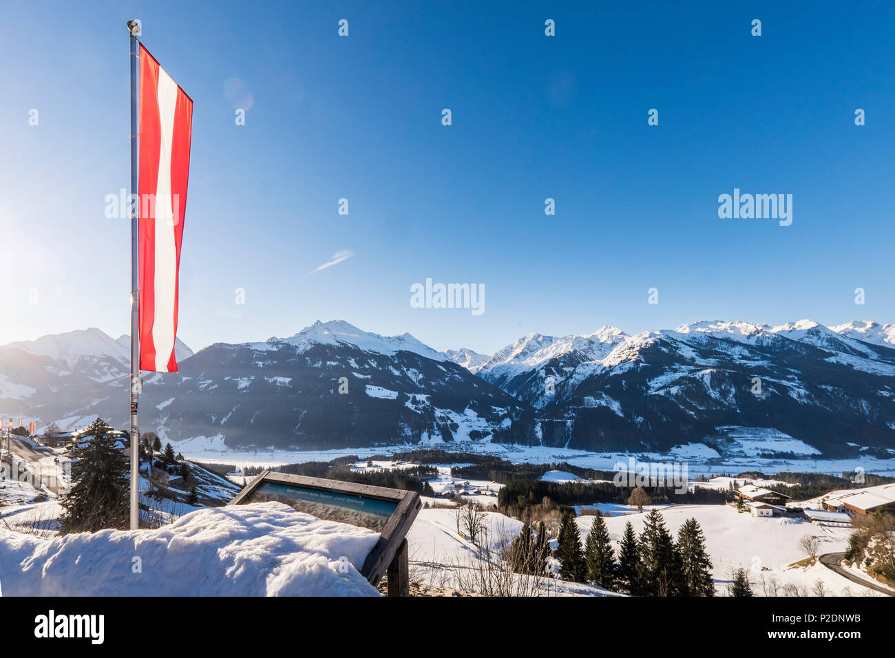 view to the national park Hohe Tauern at Thurn pass between Jochberg and Mitterswil, Tyrol, Austria, Europe Stock Photo