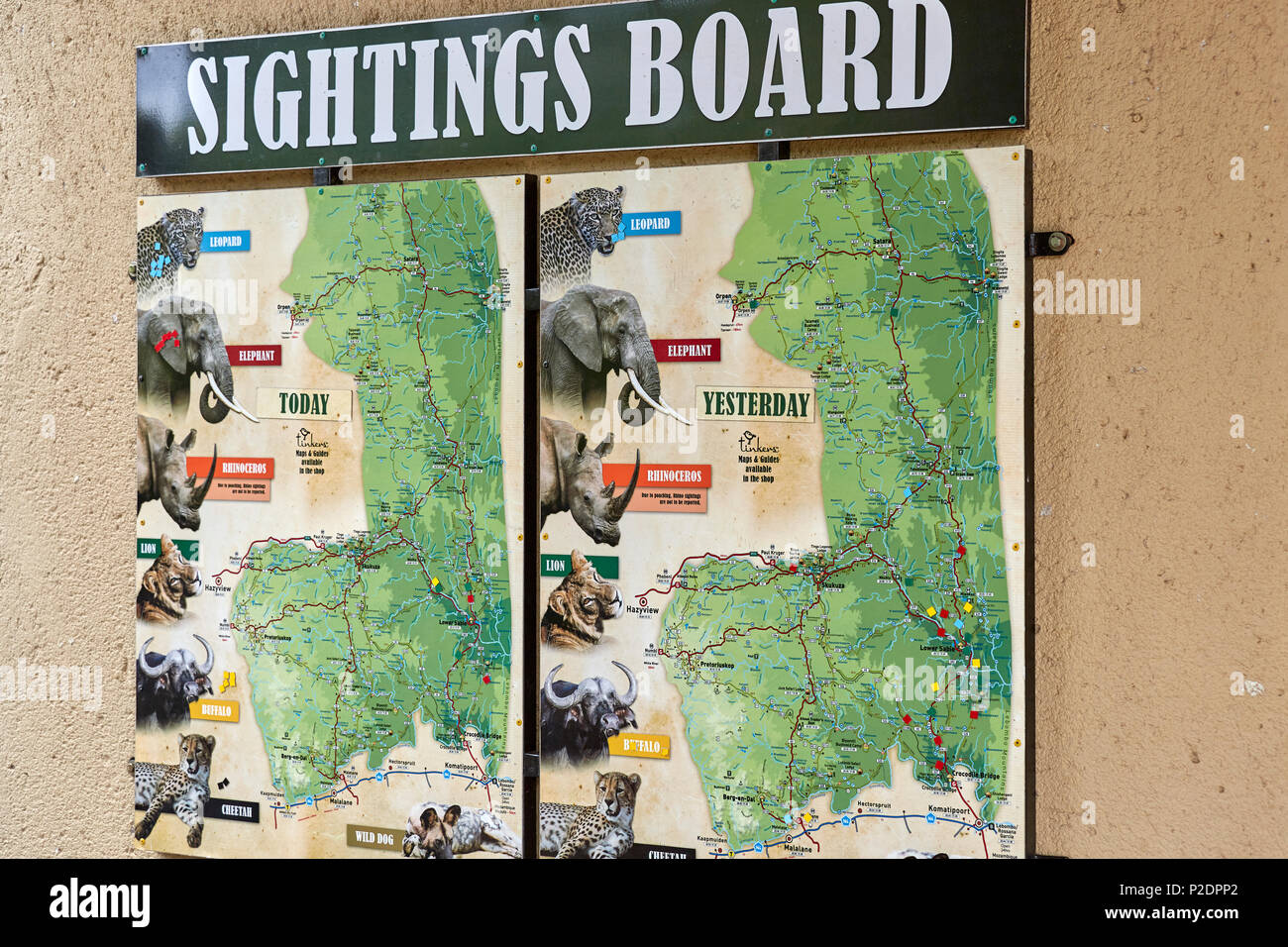 Sighting board in the Kruger National Park Game Reserve South Africa - Stock Image