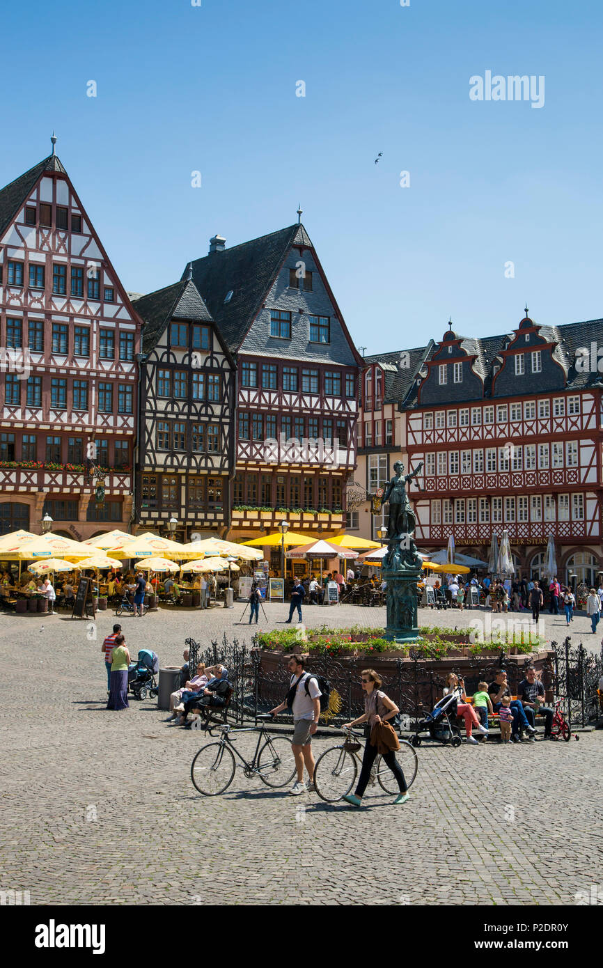 Half-timbered buildings on Roemerberg square, Frankfurt am Main, Hessen, Germany, Europe - Stock Image