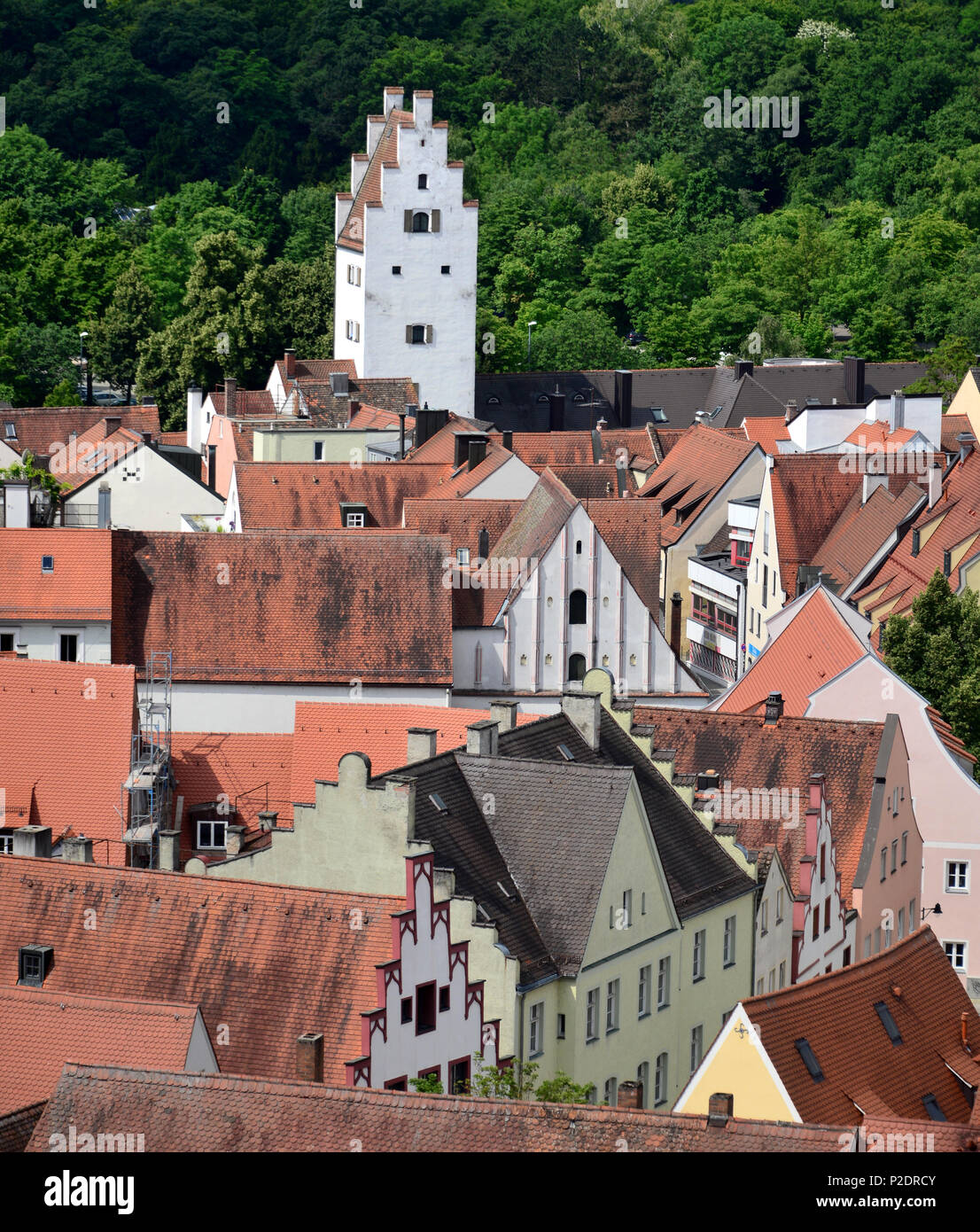 View to the west from the Pfeifturm, Ingolstadt, Upper Bavaria, Bavaria, Germany Stock Photo