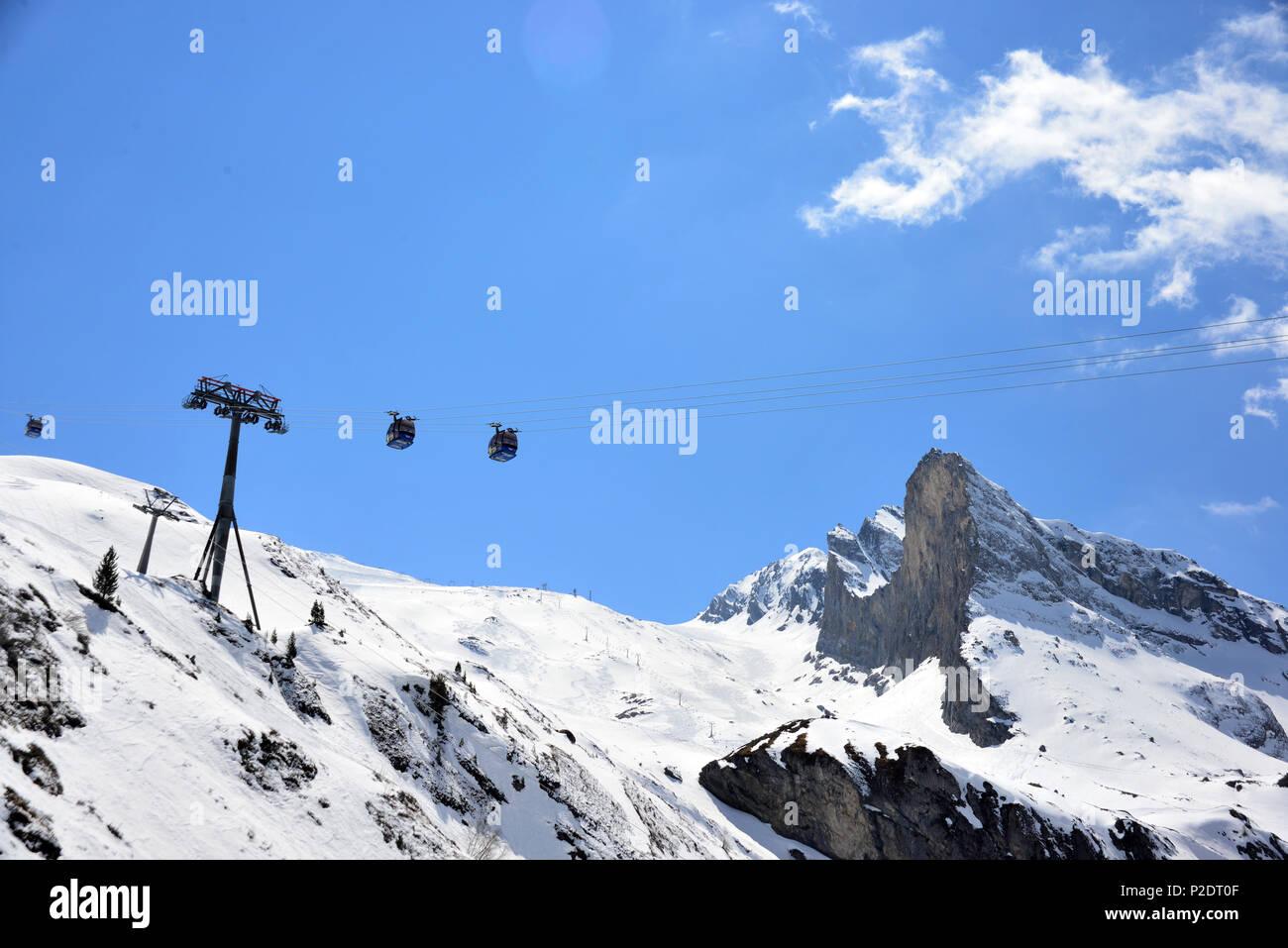 Ski area at Hintertux glacier, Tux valley, Tyrol, Austria - Stock Image