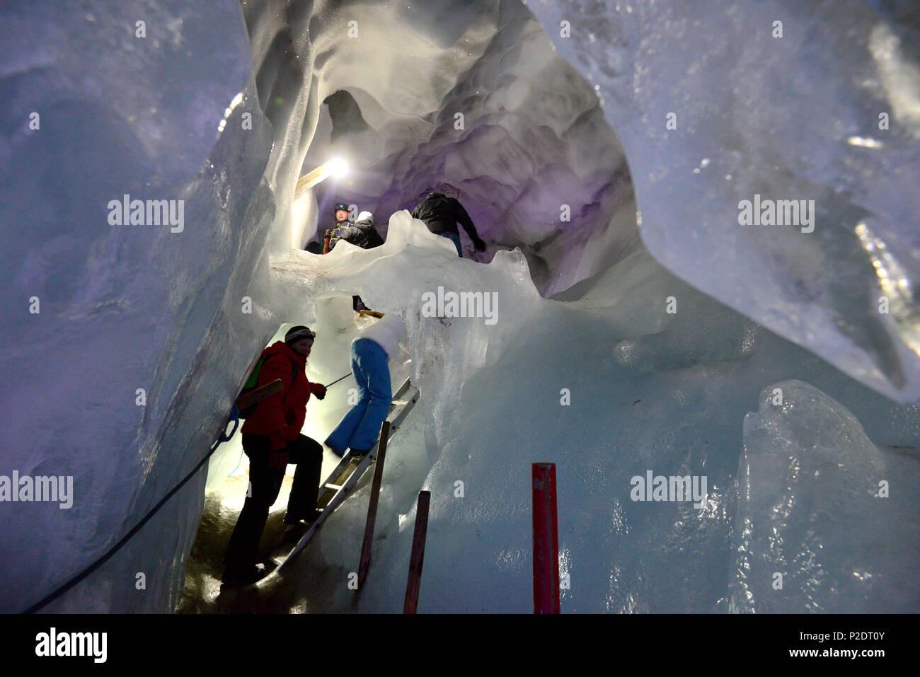 Natural ice palace at Hintertux glacier, Tux valley, Tyrol, Austria - Stock Image