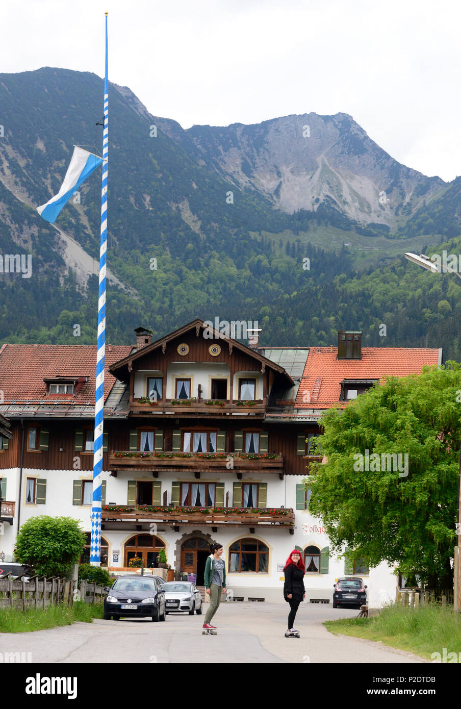 Geitau with Aiplspitze near Bayrischzell, Upper Bavaria, Bavaria, Germany - Stock Image
