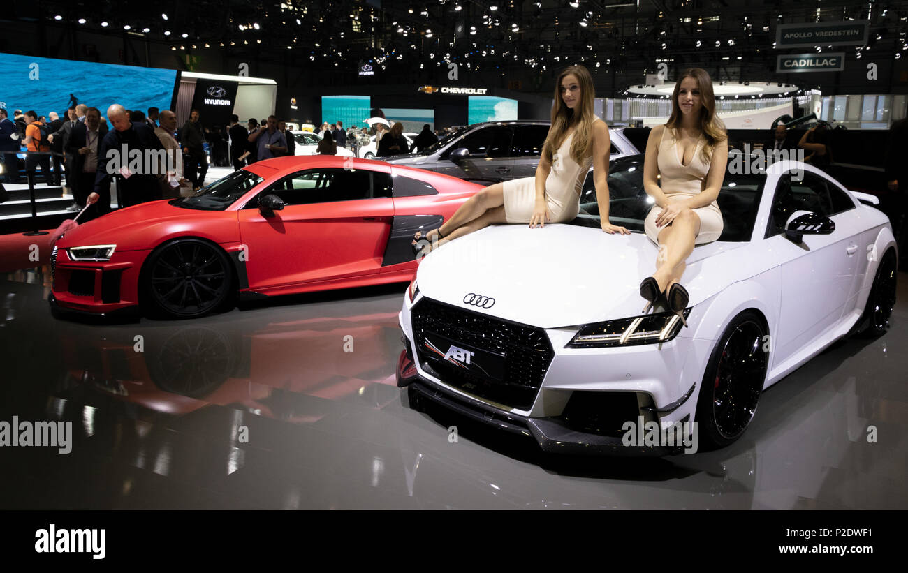 Geneva Switzerland March 7 2018 Models Posing With Tuned Audi