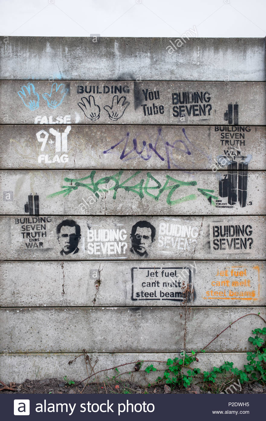 Building seven: Conspiracy theory graffiti on concrete wall insinuating that the collapse of building 7 during the 9/11 World Trade Center twin towers - Stock Image